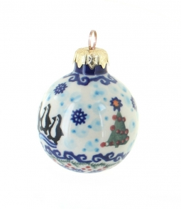 Blue Rose Polish Pottery Christmas Ornaments