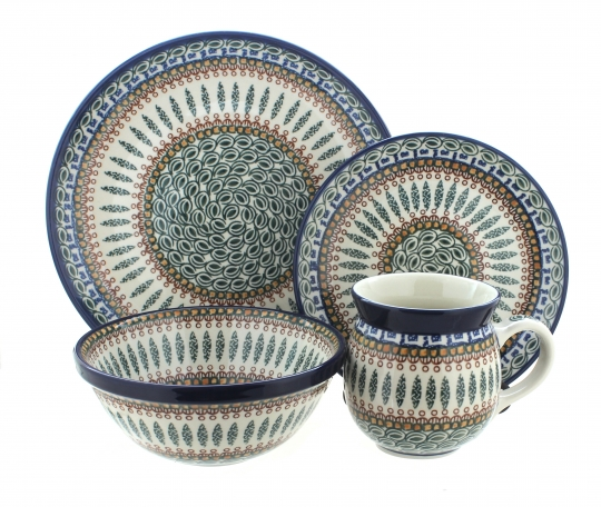 Blue Rose Polish Pottery | Tuscany 16 Piece Dinner Set