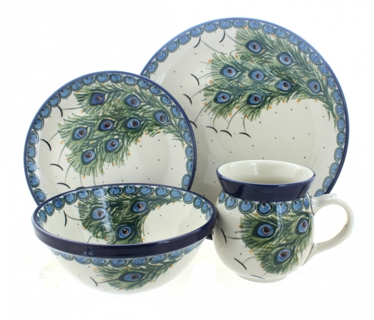 Peacock Feather 16 Piece Dinner Set  sc 1 st  Blue Rose Pottery & Blue Rose Polish Pottery | Peacock Feather 16 Piece Dinner Set