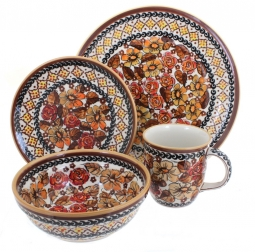 Autumn Rose 16Piece Dinner Set  sc 1 st  Blue Rose Pottery & Blue Rose Polish Pottery | Autumn Rose