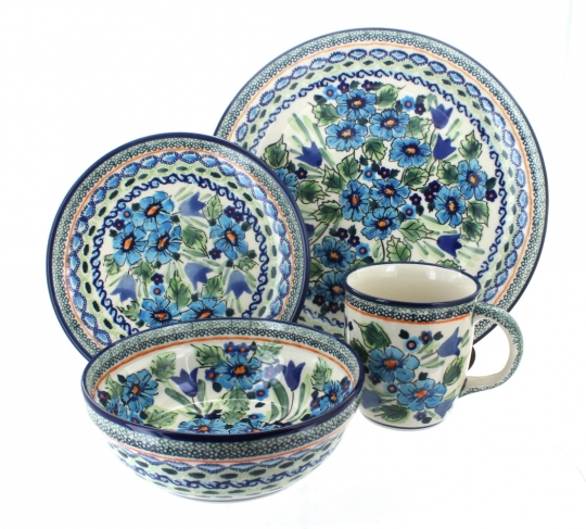 Ballina 4 Piece Dinner Set  sc 1 st  Blue Rose Pottery : polish dinnerware sets - Pezcame.Com