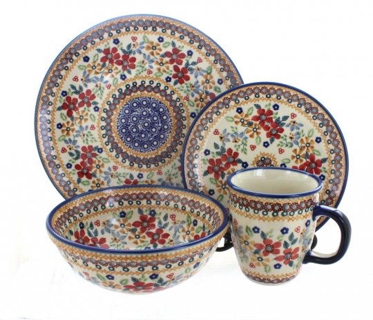 Red Daisy 16 Piece Dinner Set  sc 1 st  Blue Rose Pottery & Blue Rose Polish Pottery | Red Daisy 16 Piece Dinner Set