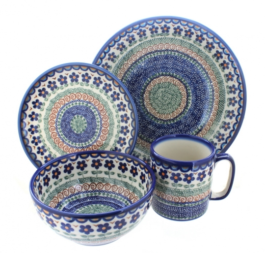 Aztec Flower 4 Piece Dinner Set  sc 1 st  Blue Rose Pottery & Blue Rose Polish Pottery | Aztec Flower 4 Piece Dinner Set