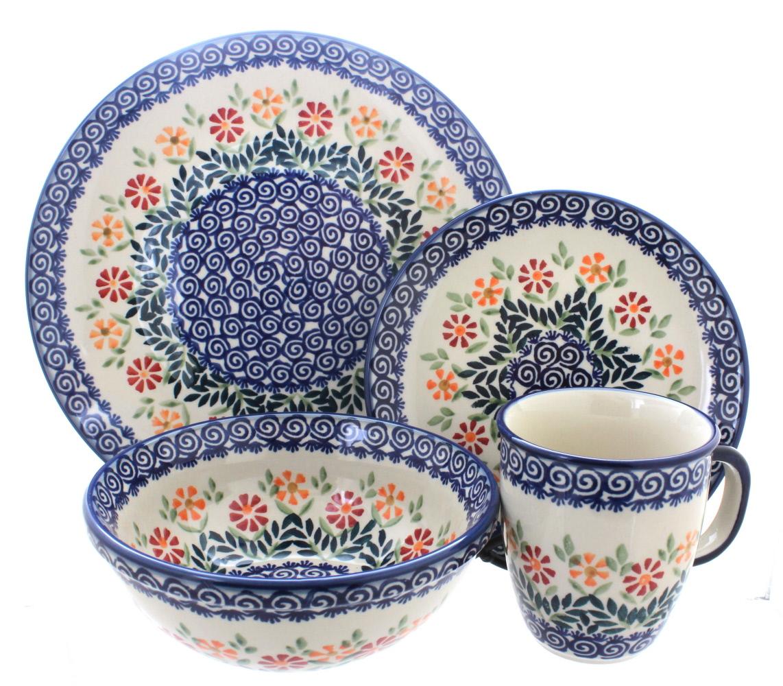 Blue Rose Polish Pottery Garden Bouquet 16 Piece Dinner Set