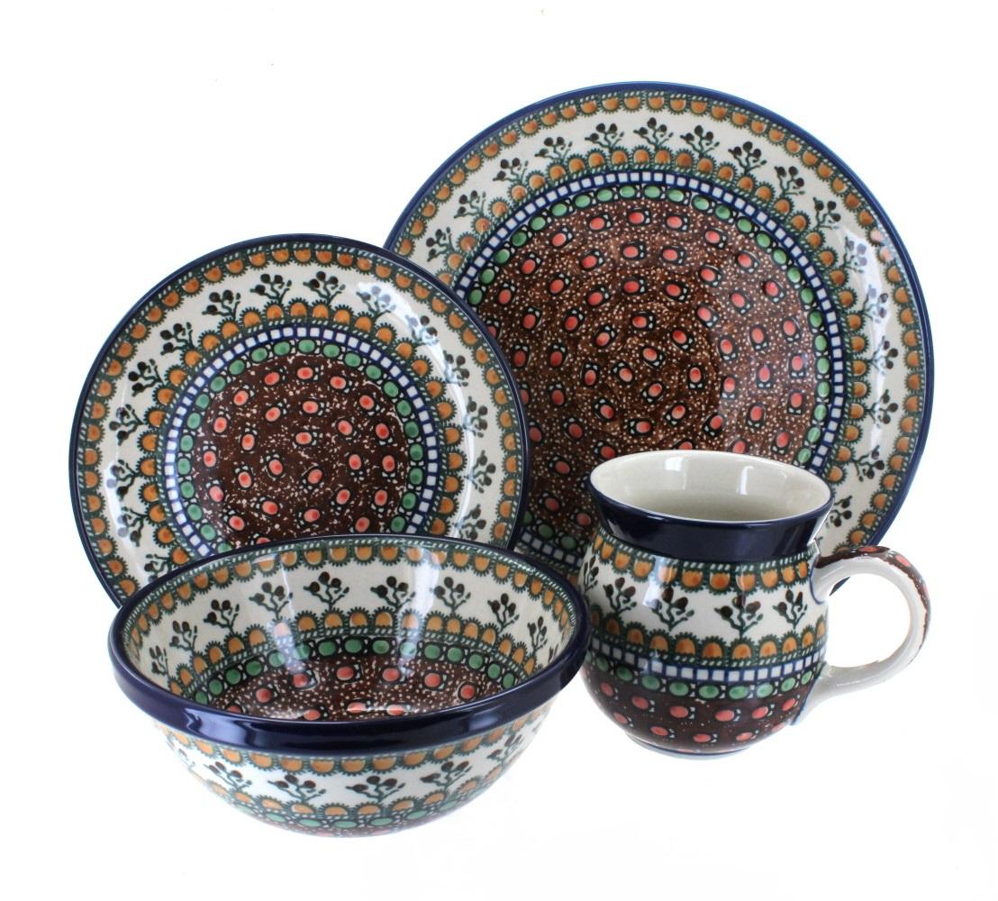 Blue Rose Polish Pottery Golden Pastures 4 Piece Dinner Set