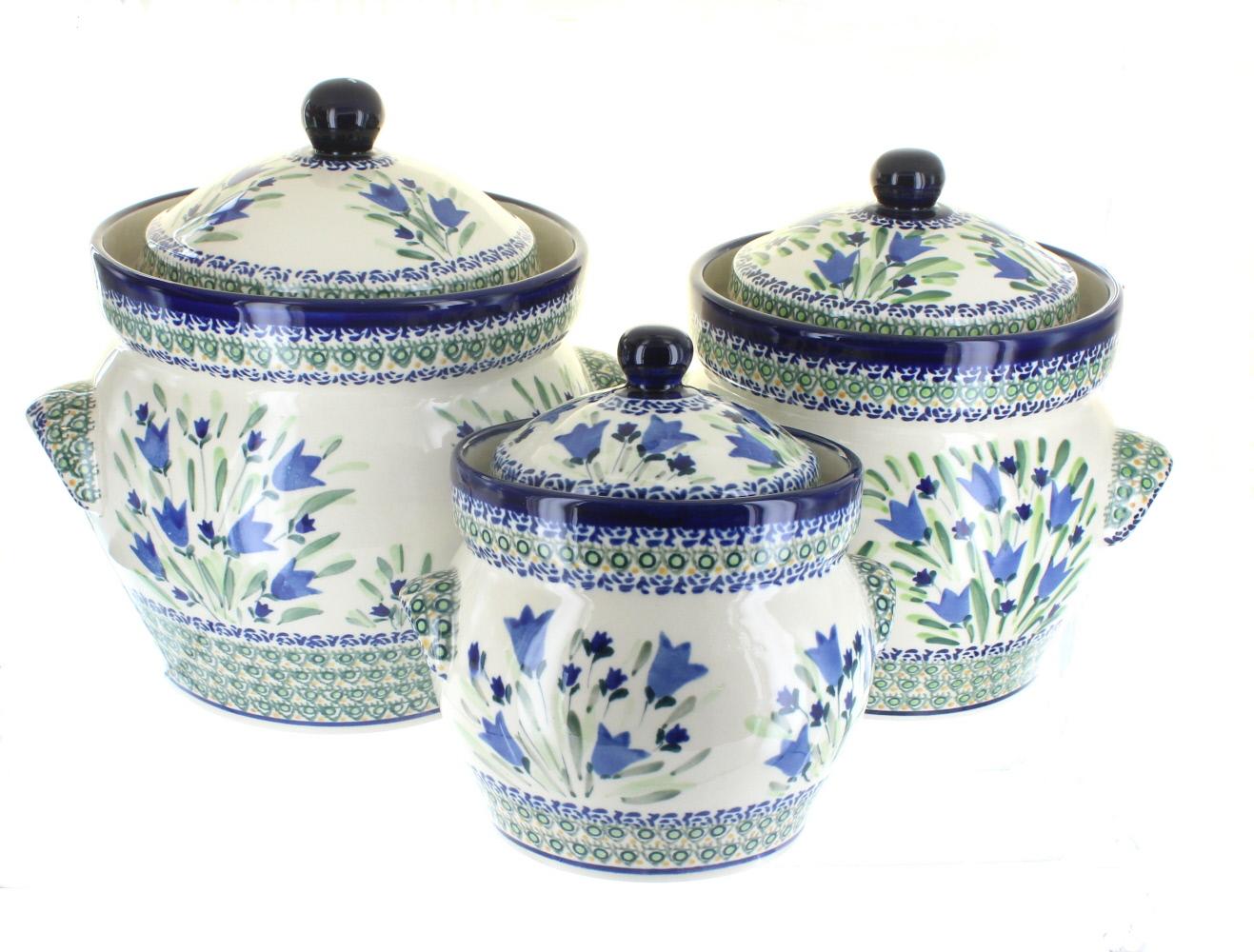 Blue rose polish pottery blue tulip large canister set for Blue kitchen set