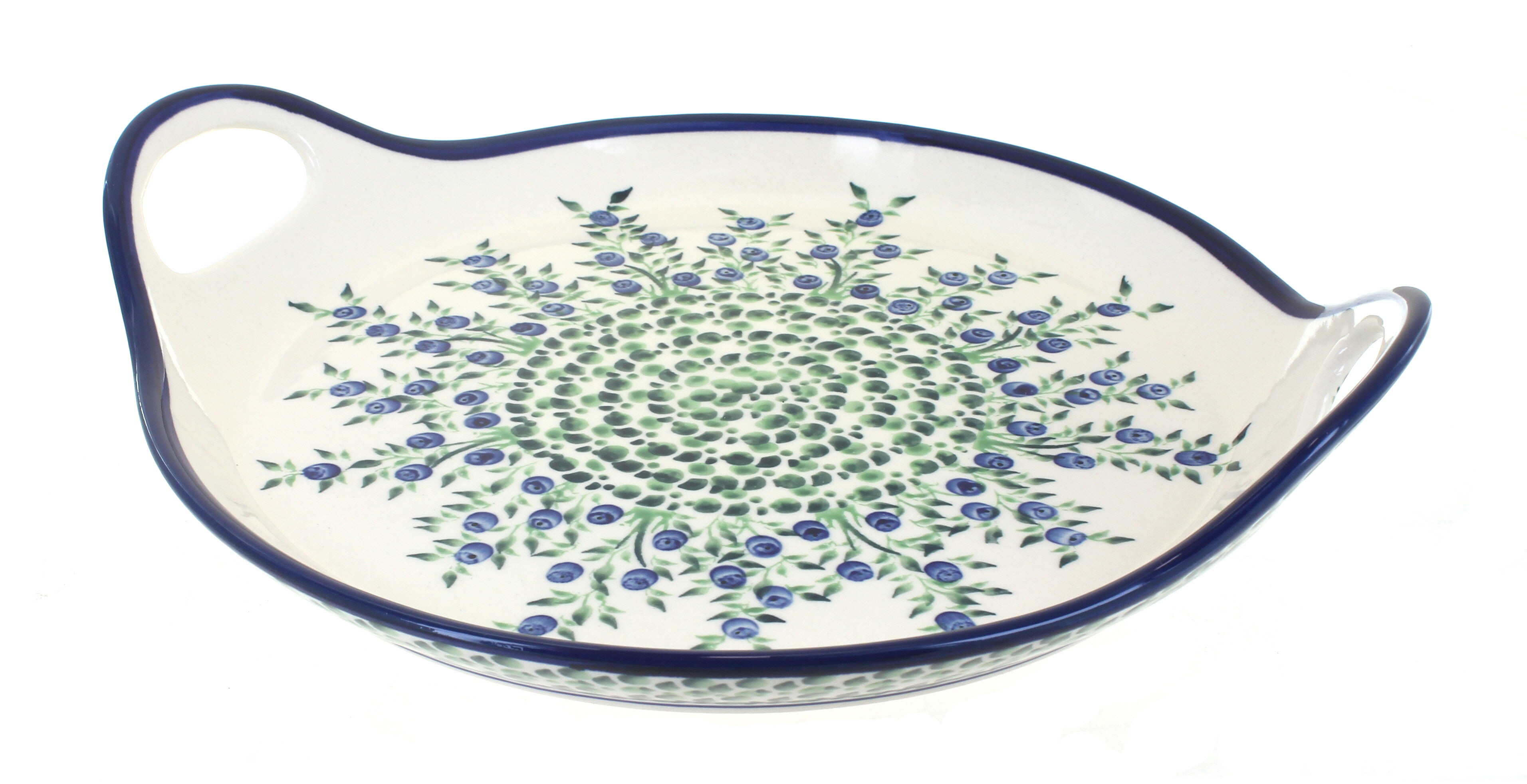 Blue Rose Polish Pottery Porcelain Vine Round Serving Tray With Handles