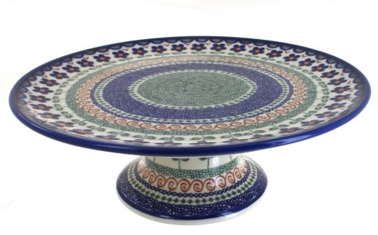 Aztec Flower Pedestal Cake Plate  sc 1 st  Blue Rose Pottery & Blue Rose Polish Pottery   Aztec Flower Pedestal Cake Plate