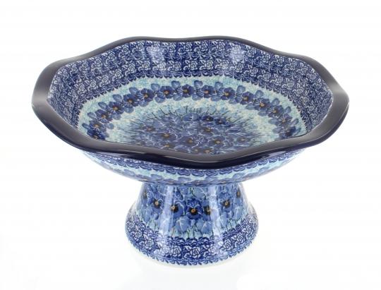 Polish Pottery Peacock Fruit Bowl Pedestal