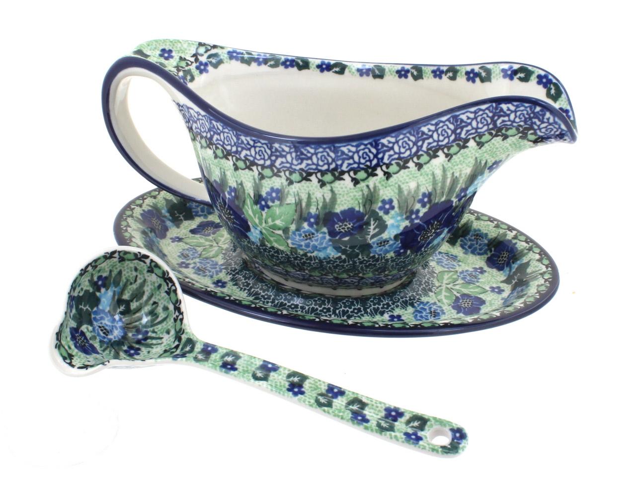Blue Rose Polish Pottery Lavender Fields Gravy Boat