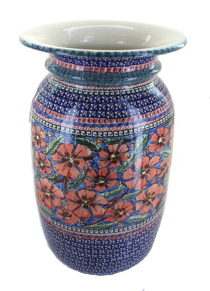 Blue Rose Polish Pottery Jungle Flower Tall Floor Vase