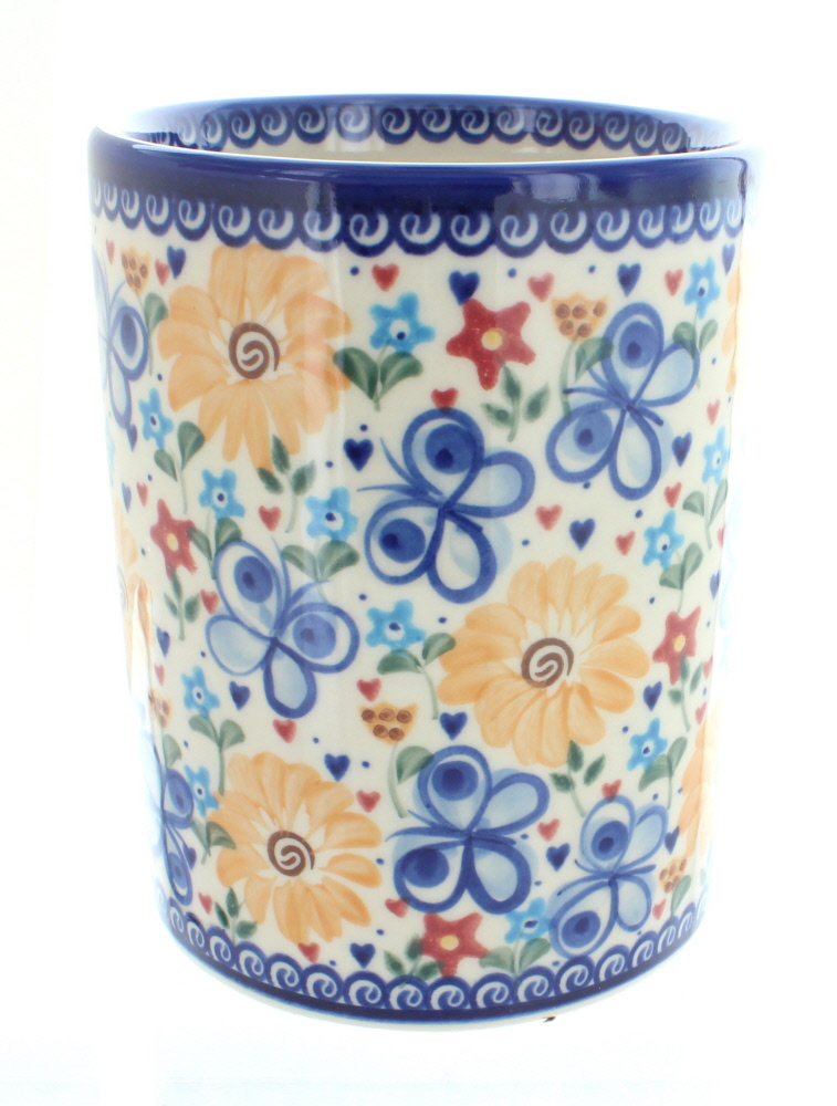 Rose Bleue Polish Pottery Papillon Ustensile Bocal