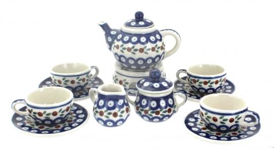 Blue Rose Polish Pottery Primrose Miniature Tea Set