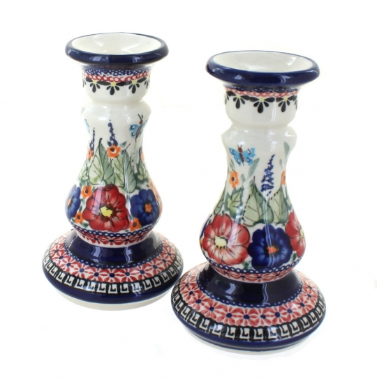 Blue Rose Polish Pottery Spring Blossom Candlestick Pair