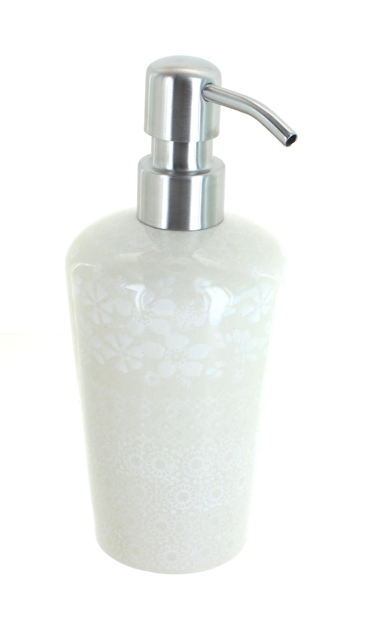 NEW KASSATEX BLUE FLORAL,WHITE CERAMIC CHROME,SILVER TONE PUMP SOAP DISPENSER