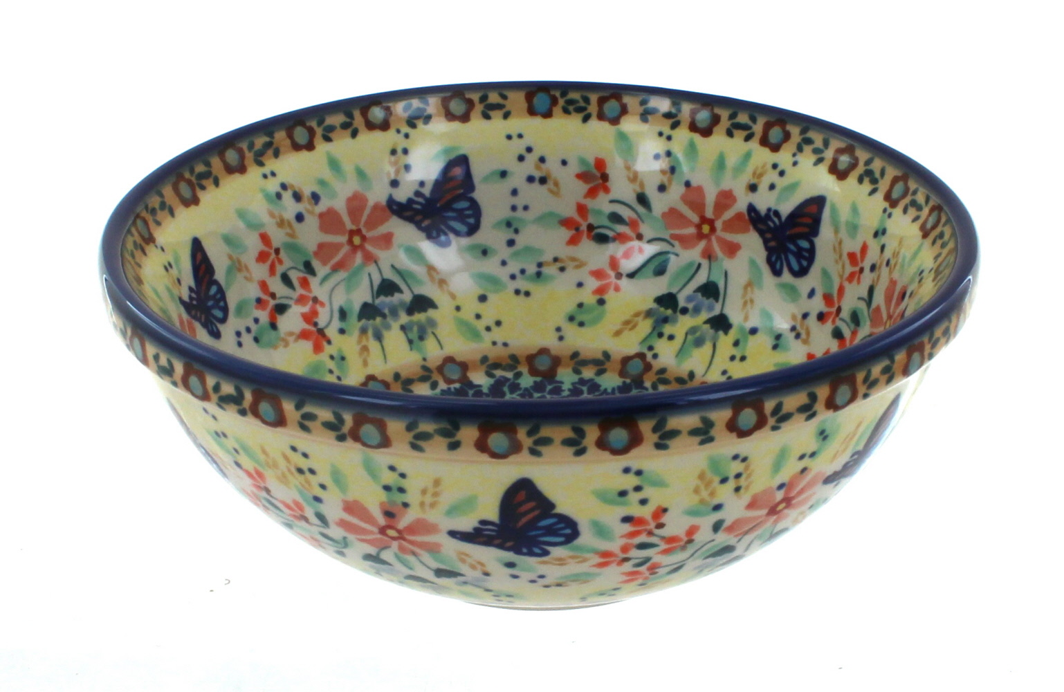 Blue Rose Polish Pottery Blue Butterfly Cereal Soup Bowl