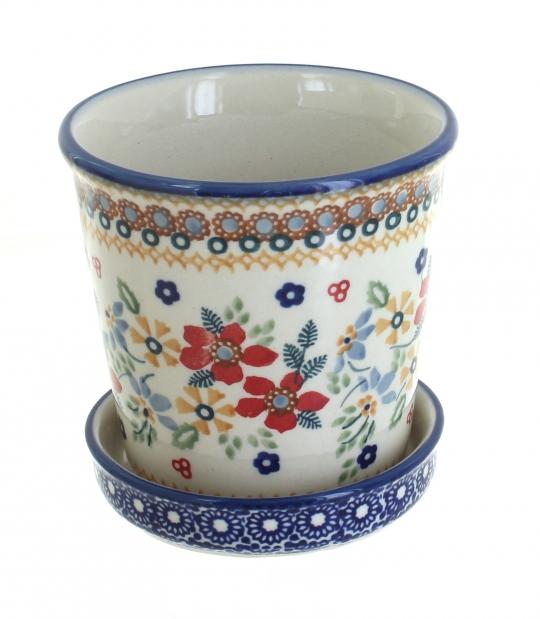 Blue Rose Polish Pottery Red Daisy Flower Pot