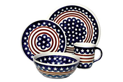 Blue Rose Polish Pottery Stars Stripes 16 Piece Dinner Set  sc 1 st  Castrophotos & Blueberry Dinnerware Set - Castrophotos