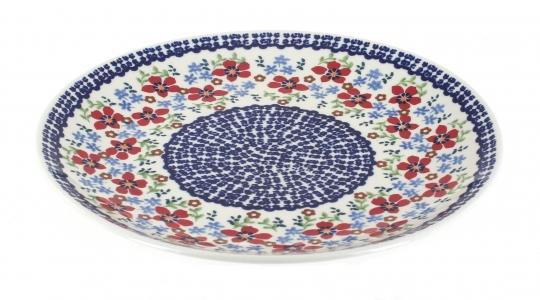 Blue Rose Polish Pottery | Red Poppy Dinner Plate